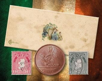 Vintage Irish Penny (plus 2 Stamps)