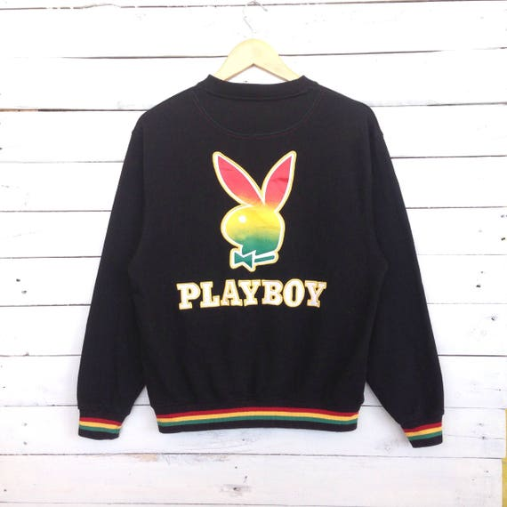 Rare!! PLAYBOY sweatshirt spell out embroidery big logo nice design maroon colour medium size lpPlamgpz