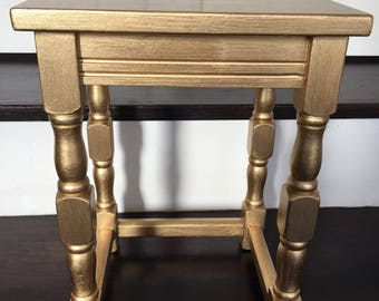 Small gold handpainted side table