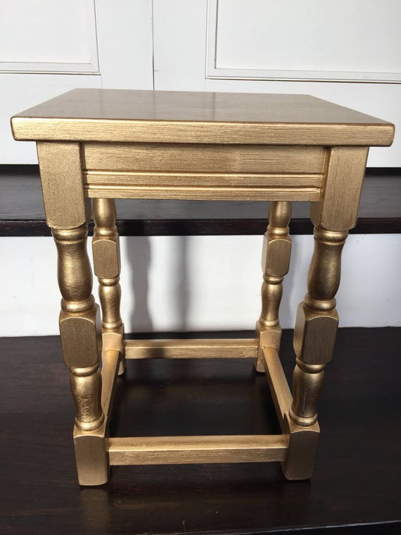 Small gold handpainted side table for Small gold side table