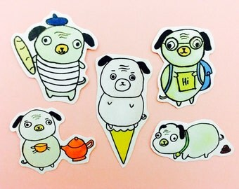 50% off sale pug planner stickers, pug stickers, planner and filofax stickers,dog stickers, kawaii stickers, hobonichi stickers, pug planner