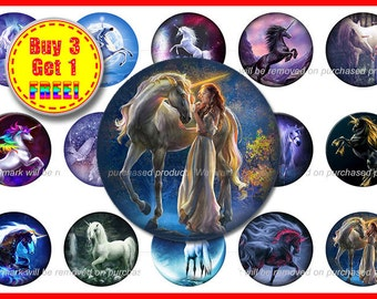 Unicorn Bottle Cap Images - Unicorn Images - Instant Download - High Resolution Images - Buy 3, Get 1 FREE
