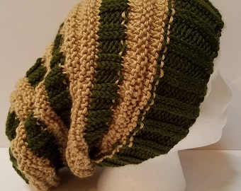 Green and Tan Slouchy Hat