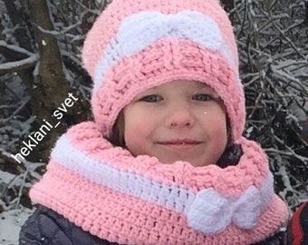 Hat and scarf set-Hat and scarf-Girl circle scarf-Girl winter hat-Toddler hat and scarf-Girl hat and scarf-Crochet set-Scarf and hat set