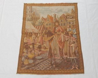 Vintage French Beautiful Market Tapestry 077
