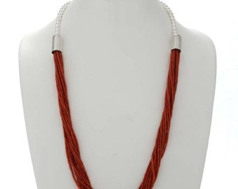 Coral Heishi Necklace Navajo Fifteen Strand  Sterling Design
