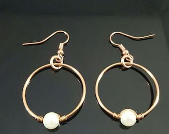 Handmade Wire Wrapped Pearl Earrings