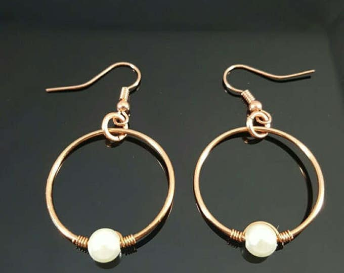 Handmade Wire Wrapped Pearl Earrings