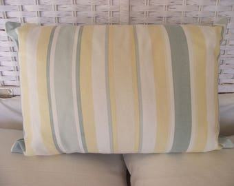 Hand made Laura Ashley cushion, Awning Stripe cushion, Primrose Duck Egg cushion,  Laura Ashley pillow, Buttoned Cushion. Rectangle pillow