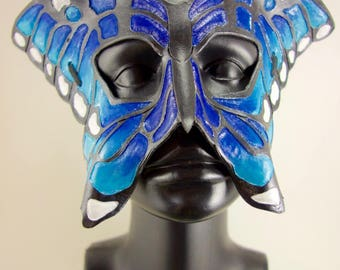 Blue Leather Butterfly Mask