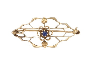 "Estate 10K Yellow Gold Blue Sapphire Vintage Bar Brooch Pin 1-1/8"" long  Victorian Marked 10 k kt 10kt Antique Filigree Open Scroll Flower"