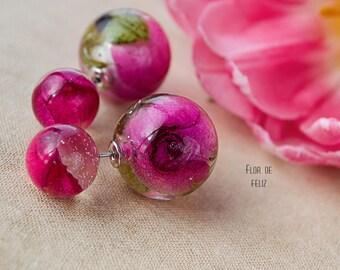 Real rose earrings, Double sided earrings, Double stud earrings, Statement earrings, Resin front back earrings, Floral Earrings, Eco Gift