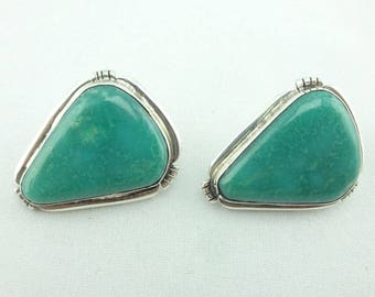 Chimney Butte Native American Green Turquoise and Sterling Silver Earrings