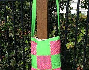 Patchwork Market Bag Green Pink Polka Dots