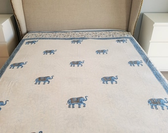 Indian Elephant Quilt-cover - QUEEN