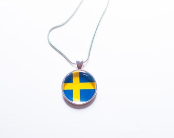 Swedish flag Swedish flag necklace Swedish necklace Swedish pendant Swedish jewelry flag necklace silver flag jewelry gift for women gift