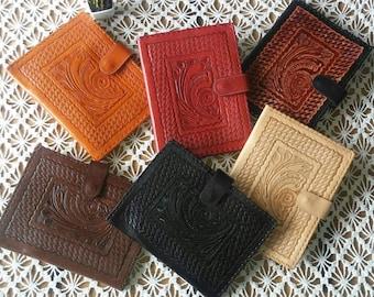 "JW Carpeta para el ministerio de cuero.Modelo ""Caracol&Tejido""JW Preaching Organizer.. Genuine Leather Tooled."