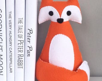 Fox bookends, childrens bookends, fox decor, nursery room decor, Kids room decor, book shelf decor, for book lovers, book ends, fox, orange