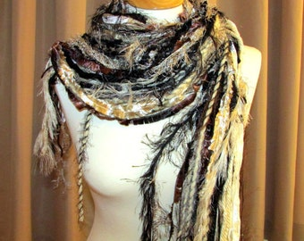 All Fringe scarf, all fringe knotted Scarf, blacks-brown-cream shades, handmade scarf, yarn scarf, funky scarf, art yarn scarf, Boho scarf