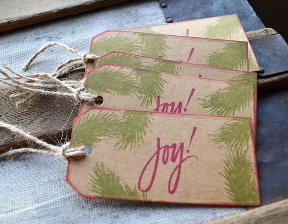 Christmas Tag with pine branches and Joy