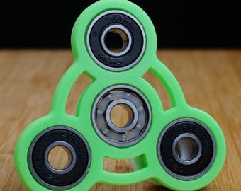 Neon Green and Black Tri-Spinner Fidget Spinner EDC Hand Toy