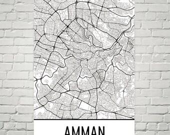 Amman Map, Amman Art, Amman Print, Amman Jordan Poster, Amman Wall Art, Amman Gift, Amman Poster, Amman Decor, Amman Map Art, Amman Wall Map