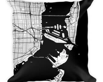 Miami Pillow, Miami Decor, Miami Throw Pillow, Miami Gift, Miami Map, Miami Art, Miami Florida, Miami Throw, Miami Home, Miami FL, Cushion