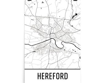 Hereford Map, Hereford Art, Hereford Print, Hereford UK Poster, Hereford Wall Art, Map of Hereford, Hereford Gift, Hereford Decor, Map Art