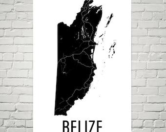 Belize Map, Map of Belize, Belizian Art, Belize Decor, Belize Gift, Belize Print, Belize Poster, Belize Wall Art, Belizian Map Art