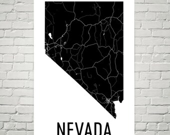 Nevada Map, Nevada Art, Nevada Gifts, Nevada Print, Nevada Wall Art, Nevada Sign, Nevada Decor, Nevada Poster, Map of Nevada, Nevada Home