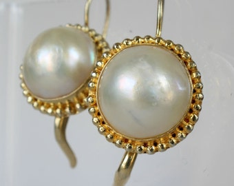 Mabe Pearl Earrings Vermeil Gold over Sterling Gift for Her Lever Back Wires