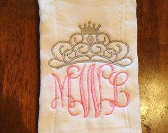 Embroidered Burp Cloth, princess Burp Cloth, princess burp rag, princess baby stuff, crown design, crown appliqued burp cloth
