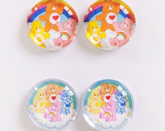 The 'Care Bear' Glass Earring Studs