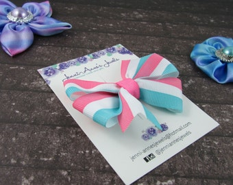Pinwheel Hair Bow Clip - Stripes