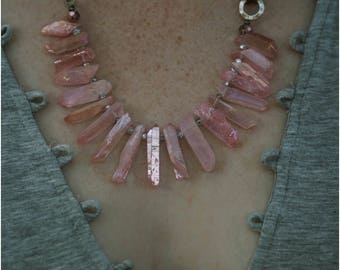 Crystal Rock Strand Necklace-pink
