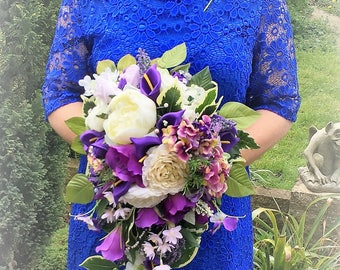 Purple bouquet,Bridal cascade bouquet ,Purple flower bouquet,Purple and white bouquet,Purple cascade bouquet,Shower bouquet purple