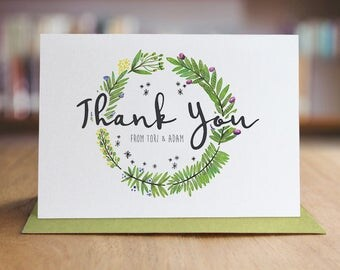 Personalized Thank You Note Card Set /  Wedding Thank You Cards / Folded Shimmer Note Cards - T389