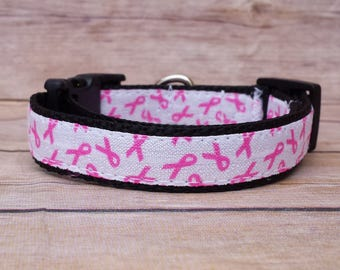 "Breast Cancer Collar / Breast Cancer Dog / Cancer Ribbon Collar / Pink Collar / Cancer Leash / 3/4"" Small or Medium / Webbing / Awareness"