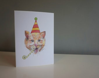 Birthday card- party cat print