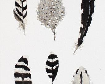 Greyscale Feathers Original Watercolor Painting // Original Art