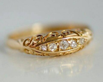 18 carat gold antique ring set with diamonds from 1909