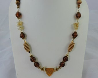 Handmade necklace, Wood beads, glass beads, quarts beads, Women's jewelry, beaded necklace