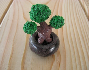 Miniature Bonsai Tree on Round Marbled Polymer Clay Planter