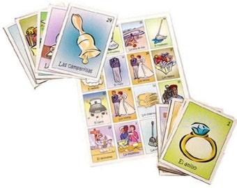 Loteria Bridal Shower Mexican Loteria Despedida de Soltera La Loteria Mexican Bingo Cards Game Boards and Deck (8 Boards or 18 or 28)