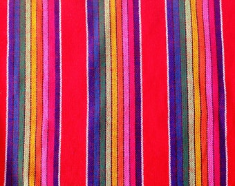 Mexican Fabric Red and Stripes Cambaya Serape Ethnic Zarape Colorful Stripes By the Yard