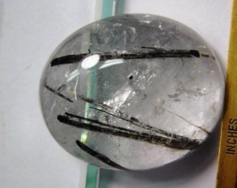 Fantastic. Black rutilated quartz gemstone, Natural Tourmalinated Quartz cabochon, Black Tourmalinated Quartz gemstone 161Cts. #103N