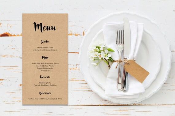 Menu word template_27,table menu, word template, weddings, editable menu card, napkin menu insert,calligraphy