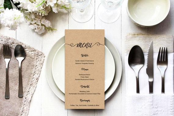 Menu word template_26,table menu, word template, weddings, editable menu card, napkin menu insert,calligraphy