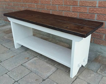 Rustic Wood Bench, Entry Bench, Country Bench, Farm Bench