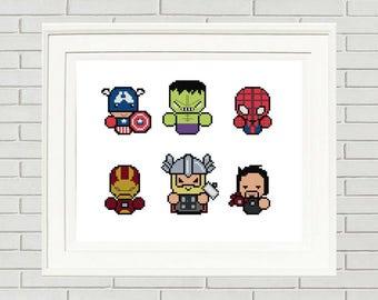 Superheroes Cross Stitch Pattern/marvel cross stitch/superheroes pattern/superheroes xstitch/superheroes stitch/#01-006